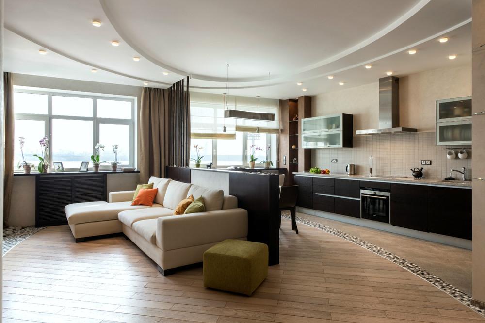 Дизайн интерьера кухонь гостиных фото