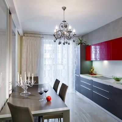 Дизайн серо-красной кухни фото дизайн