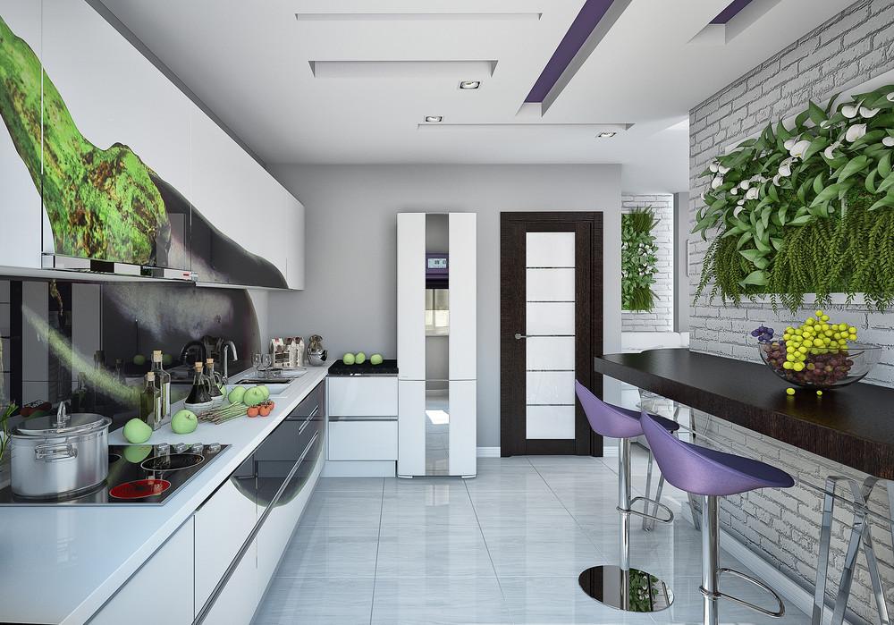 Современный интерьер кухни 12 кв.м