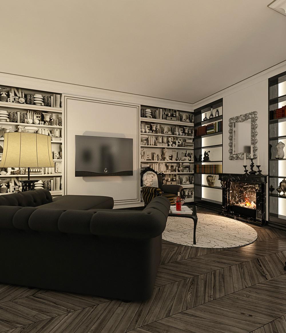 Интерьер жилого дома Галерея 3dddru: Изящная лёгкость бытия, автор DAO Архитектурное бюро