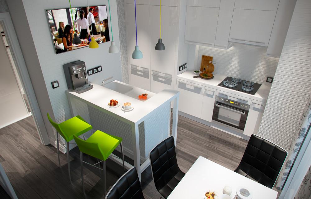 Дизайн кухни 12 кв метров с барной стойкой