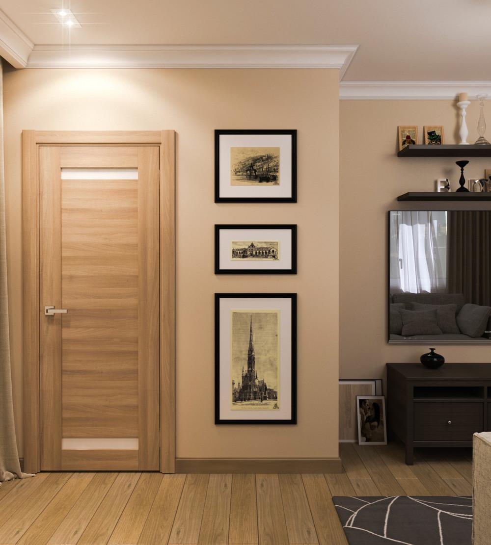 Интерьер двери беленый дуб