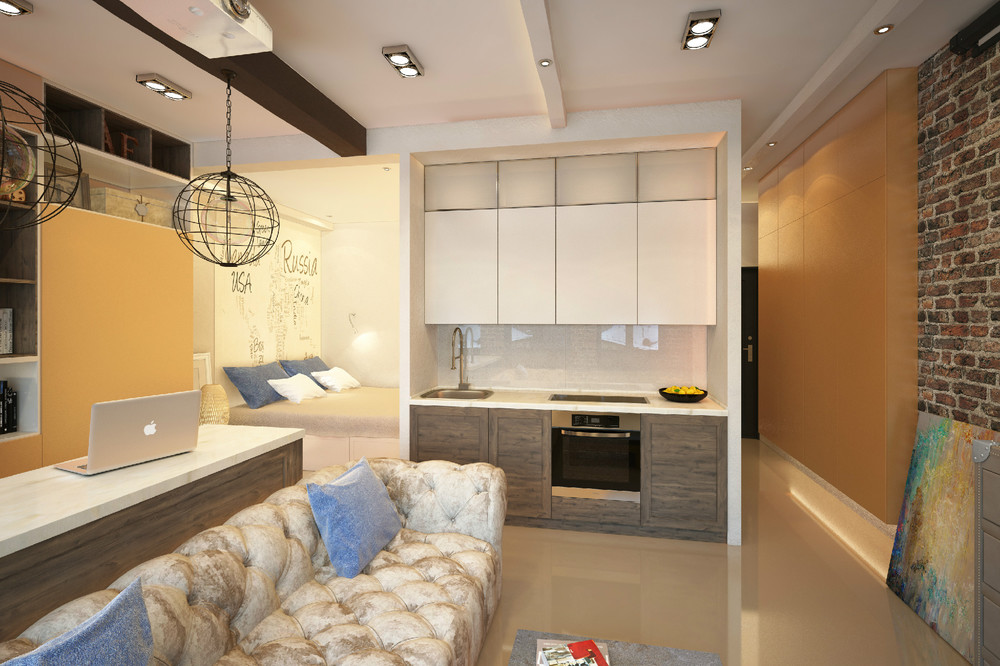 Интерьеры лофт в маленькой квартире