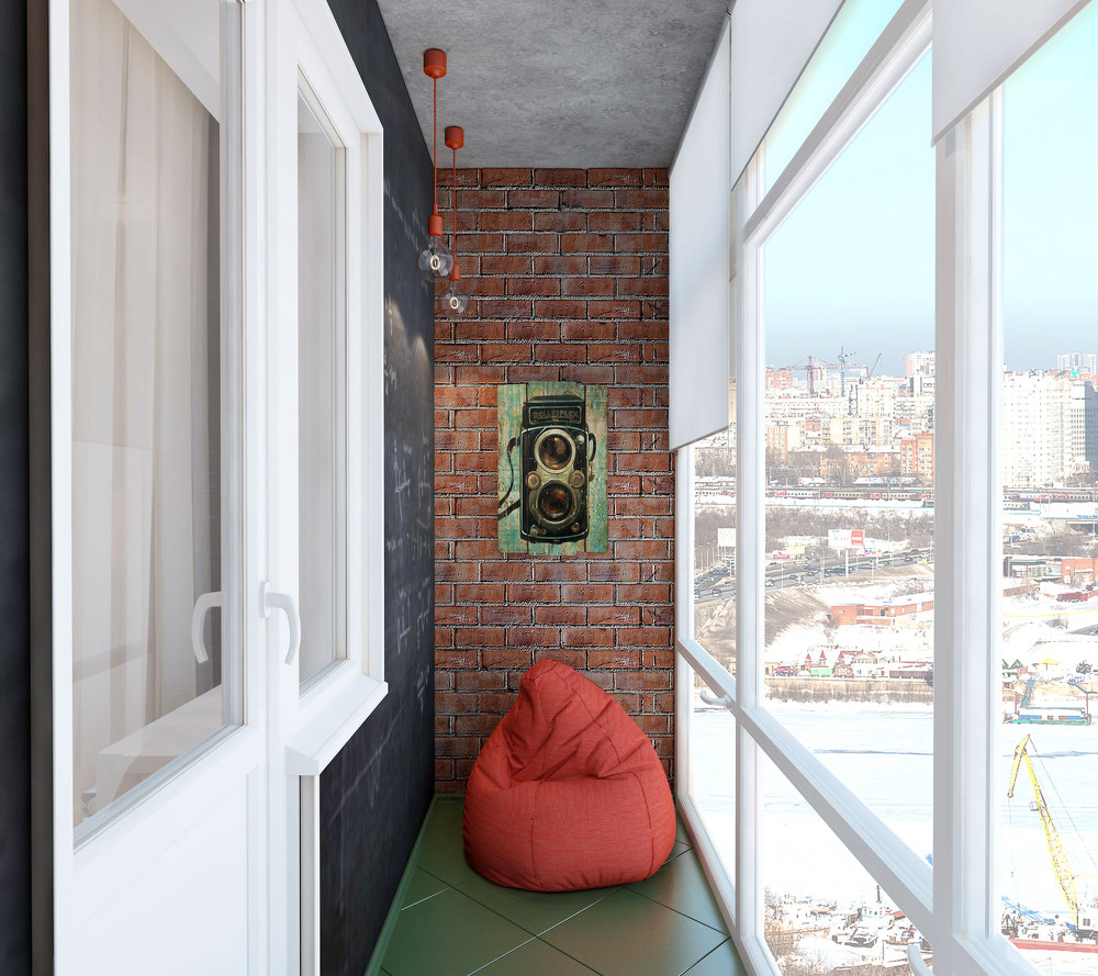 Ванная и балкон loft 3,8 и 3,18 м.кв. - интерьеры квартир, д.