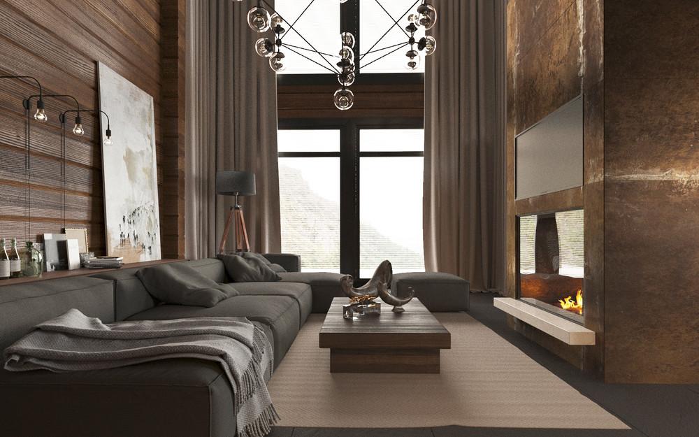 современный интерьер дома из клееного бруса для семейной пары с